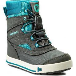 Śniegowce MERRELL - Snow Bank 2.0 Wp MC57104  Gry/Tq. Szare buty zimowe chłopięce Merrell, z materiału. W wyprzedaży za 199,00 zł.