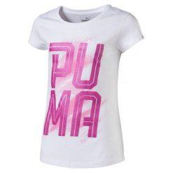 Bluzki sportowe damskie: Puma Koszulka Font Tee Girls Puma White 140