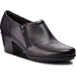 Półbuty CLARKS - Emslie Claudia 261370244 Black Leather. Czarne creepersy damskie Clarks, z materiału, eleganckie, na obcasie. Za 369,00 zł.