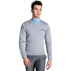 Sweter Dario SWP000024. Brązowe swetry klasyczne męskie Giacomo Conti, m, z wełny. Za 229,00 zł.