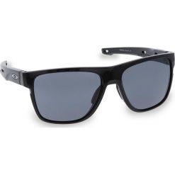 Okulary przeciwsłoneczne OAKLEY - Crossrange XL OO9360-0158  Polished Black/Grey. Czarne okulary przeciwsłoneczne męskie aviatory Oakley, z tworzywa sztucznego. W wyprzedaży za 509,00 zł.