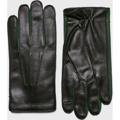 Calvin Klein - Rękawiczki skórzane. Czarne rękawiczki męskie marki Calvin Klein, z materiału. Za 399,90 zł.