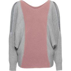 """Swetry oversize damskie: Sweter """"oversize"""" w kontrastowych kolorach bonprix jasnoszaro-różowobrązowy"""