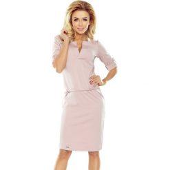 Brudnoróżowa Sukienka z Niską Stójką. Różowe sukienki na komunię marki numoco, l, z dekoltem w łódkę, oversize. Za 139,90 zł.