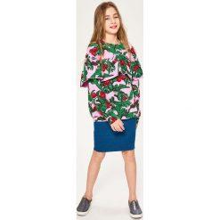 Odzież dziewczęca: Bluza z falbaną - Różowy
