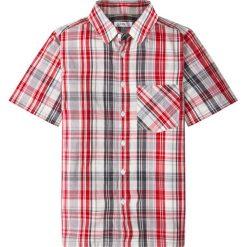 Koszula z krótkim rękawem i nadrukiem bonprix szaro-ciemnoczerwony w kratę. Białe bluzki dziewczęce z krótkim rękawem marki bonprix, z klasycznym kołnierzykiem. Za 37,99 zł.