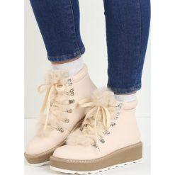 Buty zimowe damskie: Beżowe Traperki Hidden Star