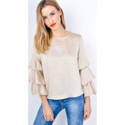 Bluzki, topy, tuniki: Gładka bluzka z falbankami na rękawach