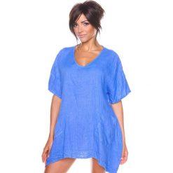 """Bluzki asymetryczne: Lniana koszulka """"Maya"""" w kolorze niebieskim"""