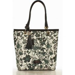 Shopper bag damskie: NOBO Torebka floral print biały z szarym