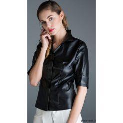 Czarna skórzana koszula. Czarne koszule jeansowe damskie marki Pakamera, biznesowe. Za 384,00 zł.