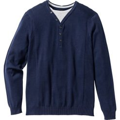Swetry klasyczne męskie: Sweter 2 w 1 Regular Fit bonprix ciemnoniebieski