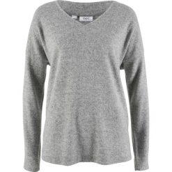 Swetry klasyczne damskie: Sweter z polaru z dekoltem w serek bonprix jasnoszary melanż