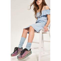 Odzież dziecięca: Prążkowane podkolanówki - Niebieski