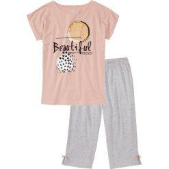 Piżamy damskie: Piżama ze spodniami 3/4 bonprix stary jasnoróżowy – jasnoszary melanż