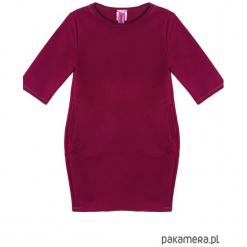 Sukienka dresowa dziecięca taliowana bordo. Czerwone sukienki dziewczęce marki Pakamera, z dresówki. Za 69,00 zł.