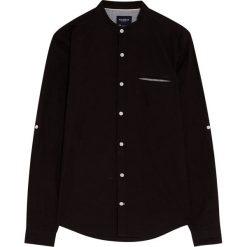 Koszula ze stójką z organicznej bawełny i lnu. Czerwone koszule męskie na spinki marki Pull&Bear, m. Za 89,90 zł.