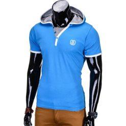 T-SHIRT MĘSKI Z KAPTUREM BEZ NADRUKU S682 - NIEBIESKI. Niebieskie t-shirty męskie z nadrukiem marki Ombre Clothing, m, z kapturem. Za 25,00 zł.