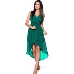Zielona Zwiewna Asymetryczna Sukienka z Dekoltem V. Zielone sukienki asymetryczne marki Molly.pl, na imprezę, l, eleganckie, z asymetrycznym kołnierzem, na ramiączkach. Za 268,90 zł.