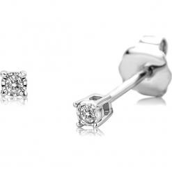 Złote kolczyki-wkrętki z diamentami. Szare kolczyki damskie REVONI, z diamentem, złote. W wyprzedaży za 431,95 zł.