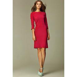 Szykowna Bordowa Sukienka Midi z Rękawem 3/4. Czerwone sukienki balowe Molly.pl, do pracy, l, midi, oversize. Za 139,90 zł.