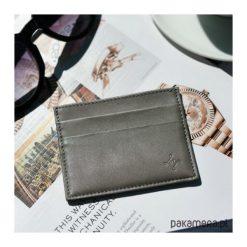 Skórzany portfel na karty kredytowe. Szare portfele damskie Pakamera, z materiału. Za 150,00 zł.