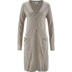 Długi sweter rozpinany bonprix piaskowy beżowy melanż. Szare kardigany damskie marki Mohito, l. Za 59,99 zł.