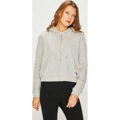 Calvin Klein Jeans - Bluza. Szare bluzy rozpinane damskie Calvin Klein Jeans, l, z bawełny, z kapturem. Za 449,90 zł.