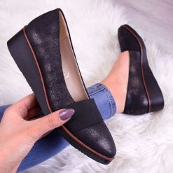 Buty ślubne damskie: Półbuty damskie na koturnie czarne Vinceza