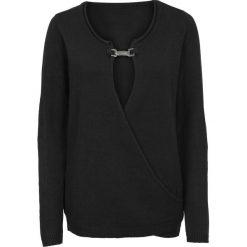 Swetry klasyczne damskie: Sweter z aplikacją bonprix czarny