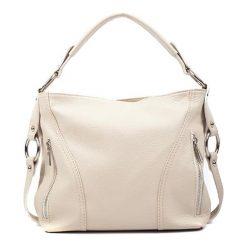 Torebki klasyczne damskie: Skórzana torebka w kolorze beżowym – (S)25 x (W)32 x (G)8 cm