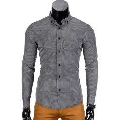 KOSZULA MĘSKA ELEGANCKA Z DŁUGIM RĘKAWEM K349 - CZARNA. Czarne koszule męskie na spinki Ombre Clothing, m, z bawełny, z klasycznym kołnierzykiem, z długim rękawem. Za 39,00 zł.