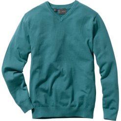 Sweter z dekoltem w serek Regular Fit bonprix niebieskozielony morski. Zielone swetry klasyczne męskie marki QUECHUA, m, z elastanu. Za 79,99 zł.