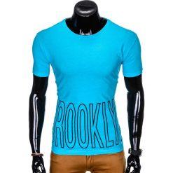 T-SHIRT MĘSKI Z NADRUKIEM S978 - TURKUSOWY. Zielone t-shirty męskie z nadrukiem marki Ombre Clothing, na zimę, m, z bawełny, z kapturem. Za 29,00 zł.