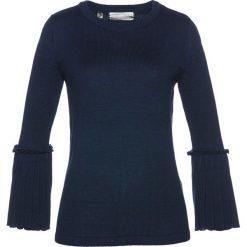 Swetry klasyczne damskie: Sweter z plisowaną wstawką bonprix ciemnoniebieski
