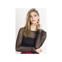 Bluzka Lizzy. Czarne bluzki asymetryczne Wow fashion, s, z wiskozy, eleganckie, z falbankami, z długim rękawem. Za 139,00 zł.