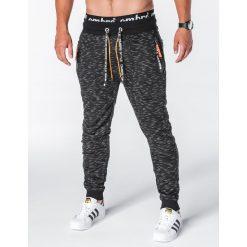 SPODNIE MĘSKIE DRESOWE P638 - CZARNE. Czarne spodnie dresowe męskie Ombre Clothing, z bawełny. Za 55,00 zł.