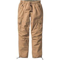 Spodnie bojówki Loose Fit Straight bonprix wielbłądzia wełna. Brązowe bojówki męskie marki bonprix, w paski, z wełny. Za 79,99 zł.