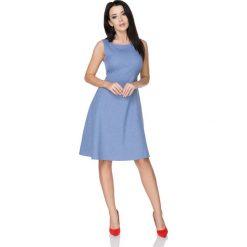 Jasnoniebieska Letnia Rozkloszowana Sukienka z Wiązaną Szarfą. Niebieskie sukienki letnie marki bonprix, z nadrukiem, na ramiączkach. Za 278,90 zł.