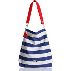 Marynarski worek w pasy z blaszką/ torba plażowa. Białe torby plażowe Pakamera, z bawełny. Za 135,00 zł.