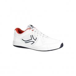 Buty tenisowe TS130 męskie na twardą nawierzchnię. Białe buty do tenisa męskie ARTENGO, z gumy. Za 84,99 zł.