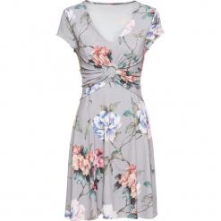 Sukienka z dżerseju w kwiaty bonprix szary w kwiaty. Szare sukienki letnie marki bonprix, w kwiaty, z dżerseju. Za 89,99 zł.