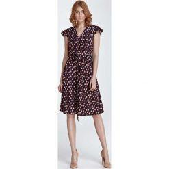 Sukienki: Sukienka Rozkloszowana z Wzorem Ptaszki