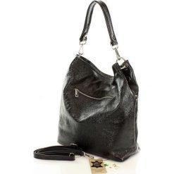 Torebki klasyczne damskie: Zjawiskowa włoska torebka skórzana czarna perła SASHA