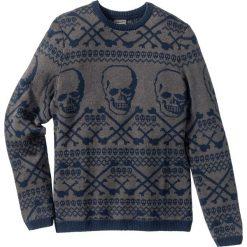 Swetry klasyczne męskie: Sweter z domieszką wełny Slim Fit bonprix ciemnoniebiesko-szary wzorzysty