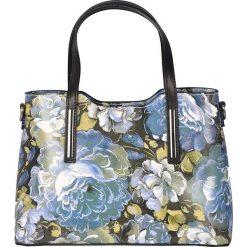 Torebki klasyczne damskie: Skórzana torebka w kolorze niebieskim – 32 x 22 x 12 cm