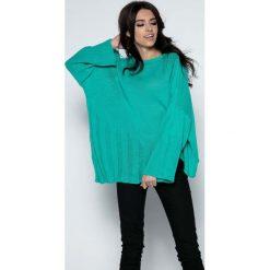 Zielony  Sweter Asymetryczny z Rozkloszowanymi Rękawami. Niebieskie swetry oversize damskie marki Molly.pl, na co dzień, l, z elastanu, z klasycznym kołnierzykiem, oversize. Za 118,90 zł.
