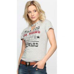 Bluzki asymetryczne: Szary T-shirt You Say No