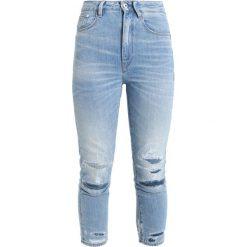 GStar 3301 ULTRA HIGH STRAIGHT 7/8 3DR Jeans Skinny Fit destroyed denim. Niebieskie rurki damskie G-Star. W wyprzedaży za 449,40 zł.