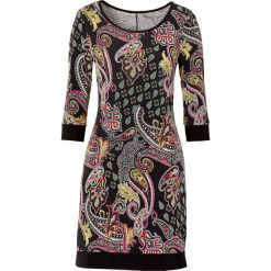 Sukienka shirtowa z nadrukiem bonprix czarny z nadrukiem. Czarne sukienki balowe marki bonprix, z nadrukiem, z okrągłym kołnierzem. Za 54,99 zł.